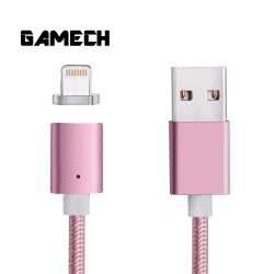 Gamech,Gamech 5th Gen Fast Magnetic Charger and Data Sync Nylon Cable for iOS,pink,MCDARARELRO15658245234 image here