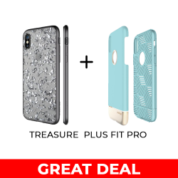 TREASURE - SILVER FOR IPHONE X AND FIT PRO - AQUA GOLD FOR IPHONE X image here