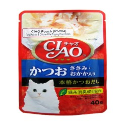 CIAO,POUCH TUNA (KATSUO) & CHICKEN FILLET TOPPING DRIED BONITO 40G (IC-204),617 image here