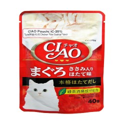 CIAO,POUCH TUNA (MAGURO) & CHICKEN FILLET SCALLOP FLAVOR 40G (IC-201),618 image here