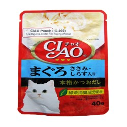 CIAO,POUCH TUNA (MAGURO) & CHICKEN FILLET TOPPING WHITEBAIT 40G (IC-202),619 image here