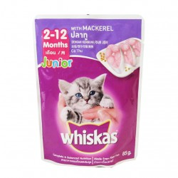 WHISKAS POUCH JUNIOR MACKEREL 85G image here