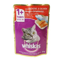 WHISKAS POUCH MACKEREL & SALMON 85G image here