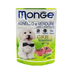 MONGE POUCH AGNELLOeVERDURE LAMB AND VEGETABLES GRILL 100G image here