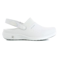 Oxyas DORIA White Ladies Leather Nursing Clogs,White,Oxypas Doria WHT image here