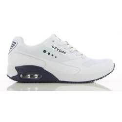 Oxypas JUSTIN Men's Leather Sneakers Nursing Shoes,White,Oxypas Justin NAV image here