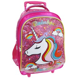 Creative Gear,Rainbow Unicorn Creative Gear School Bag Trolley for Girls (TRO-RAINBOW16),pink,TRO-RAINBOW16 image here