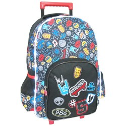 Icons Pattern Black LED Light Bag Creative Gear School Trolley for Boys (TRO-BLACKICON18) image here