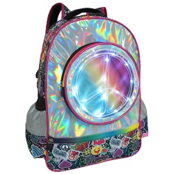 Creative Gear,Emoticons Pattern LED Light Bag Creative Gear School Backpack - Unisex (BP-EMOTICON18),pink,BP-EMOTICON18 image here