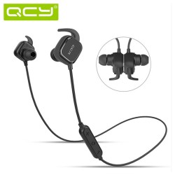 QCY QY12 Sweatproof Wireless Reduction Noise Isolating Built-in Microphone Bluetooth (Elegant Black) image here