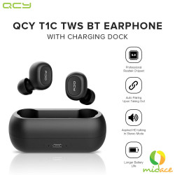 QCY,T1C Wireless Binaural In-ear Earphones Waterproof Bluetooth 5.0 Headset with Charger Box,black,QCY-T1C-BLK image here