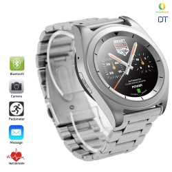 DT G6 Sweatproof Sports Bluetooth Smartwatch Metal Strap Silver image here