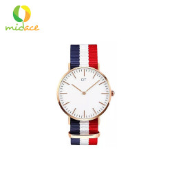 DT, 118 Classic Nylon & Leather Strap Ultra Thin Quart Sweat Proof Wristwatches for Men and Wowen DT-118-NYLON-CMBNRDWHTBLU, Red, DT-118-NYLON-CMBNRDWHTBLU image here