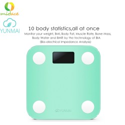 English Original YUNMAI Mini Smart Weight Scale Digital Scale IOS10.0 Bluetooth - Green image here