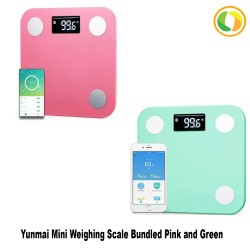 English Original YUNMAI Mini Smart Weight Scale Digital Scale  - Green and Pink image here