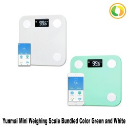 English Original YUNMAI Mini Smart Weighing Scale  White and Green Bundled image here