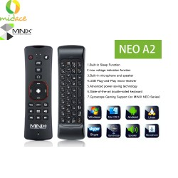 MINIX A2 Lite Airmouse Remote Control with Wireless Qwerty Keyboard for Smart TV PC Laptop Black image here