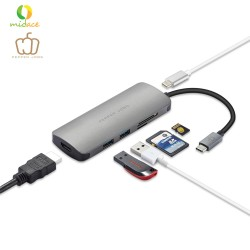 Pepper Jobs TCH-4 USB-C Digital AV Multiport Adapter MacBook Compatible Silver image here