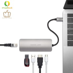 Pepper Jobs TCH-5 USB-C Digital AV Multiport & Network Hub Adapter MacBook Compatible Silver image here