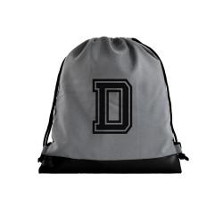 Grey Initial Drawstring bag image here