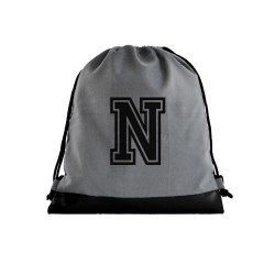Grey Initial Drawstring bag image here