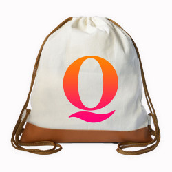Myriad Print Concepts,Gradient Initial Drawstring bag,White,DS-GRDT-Q image here