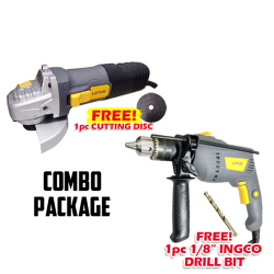 LOTUS Angle Grinder & Impact Drill 650W COMBO Package + free cutting disc & drill bit image here