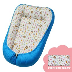 Babycuddle Bed Baby Animals in Blue image here