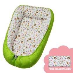 Babycuddle Bed Baby Animals in Green image here