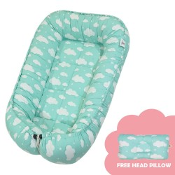 Babycuddle Bed Big  Green Clouds image here