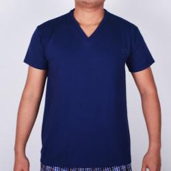 SUNJOY V-NECK SHIRT (NAVY BLUE) image here