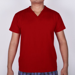 SUNJOY V-NECK SHIRT (BURGUNDY RED) image here