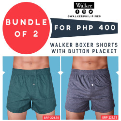 Walker Boxer Shorts with Button Placket Bundle of 2 (Acid Green, Gray) image here