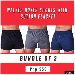 Walker Boxer Shorts with Button Placket Bundle of 3 (Black, Gray, Navy Blue) image here