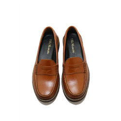 COGNAC PENNY LOAFERS BY FERNANDO image here