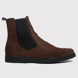 CHOCOLATE BROWN CHELSEA BOOTS BY NINO image here