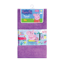 "Peppa Pig Sublimation Print Cotton Hand Towel 12""x20"",PPSHT16-02TC purple image here"