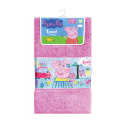 "Peppa Pig Sublimation Print Cotton Hand Towel 12""x20"",PPSHT16-02TC pink image here"