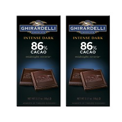 Candy Corner,Ghirardelli Chocolate Intense Dark Midnight Reverie 86% Bar 90g x 2pcs,CE000125 - 2pcs image here