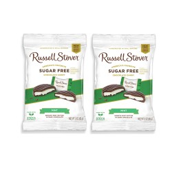 Candy Corner,Russell Stover Sugar Free Mint Patties Dark Chocolate Peg Bag 3oz/85g x 2pcs,CE000367 - 2pcs image here