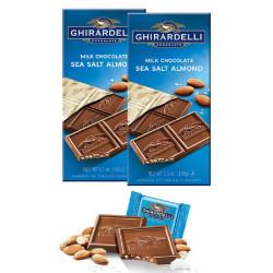 Ghirardelli Milk Chocolate Sea Salt Almond Bar 100g image here