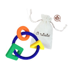 Lil Twinkies® Royal Blue Sensory Teether Ring / Gum Soother / BPA-Free / Freezer Safe  image here
