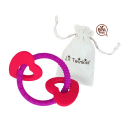 Lil Twinkies® Luscious Hearts Sensory Teether Ring / Gum Soother / BPA-Free / Freezer Safe  image here