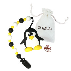 Lil Twinkies® Happy Penguin Teether with Pacifier Clip / Stylish Gum Soother / BPA-Free / Freezer Safe image here