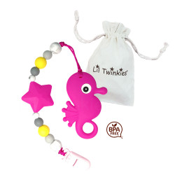 Lil Twinkies® Pink Seahorse Teether with Pacifier Clip / Stylish Gum Soother / BPA-Free / Freezer Safe image here