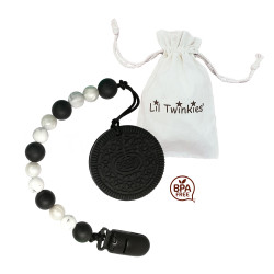 Lil Twinkies® Black Biscuit Teether with Pacifier Clip / Stylish Gum Soother / BPA-Free / Freezer Safe image here