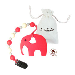 Lil Twinkies® Red Elephant Teether with Pacifier Clip / Stylish Gum Soother / BPA-Free / Freezer Safe image here