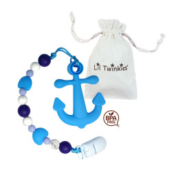 Lil Twinkies® Blue Anchor Teether with Pacifier Clip / Stylish Gum Soother / BPA-Free / Freezer Safe image here