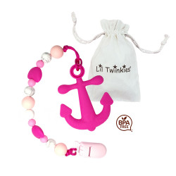 Lil Twinkies?? Pink Anchor Teether with Pacifier Clip / Stylish Gum Soother / BPA-Free / Freezer Safe image here