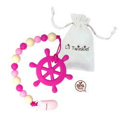 Lil Twinkies?? Pink Helm Teether with Pacifier Clip / Stylish Gum Soother / BPA-Free / Freezer Safe image here